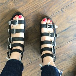 Shoes - Bronx black leather sandals with silver hardware.